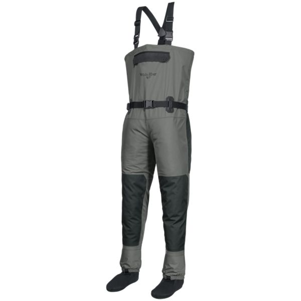 White River Fly Shop Montauk Chest Waders for Men - Grey - XLS