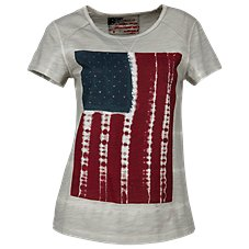 Natural Reflections Tie-Dye Flag Tee for Ladies