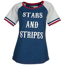 Natural Reflections Stars and Stripes Baseball Tee for Ladies