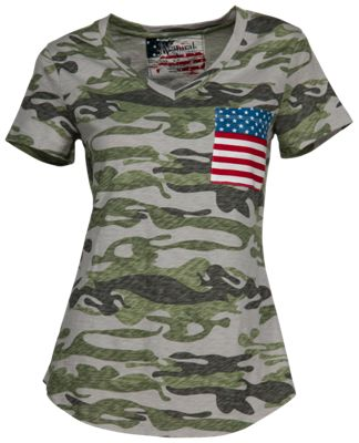 Natural Reflections Camo Flag T-Shirt for Ladies – Camo – 3X
