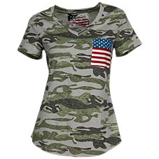 Natural Reflections Camo Flag Pocket Tee for Ladies