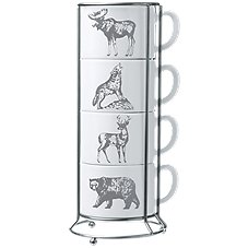White River Silver Animals 4-Piece Ceramic Stacking Mug Set with Wire Rack