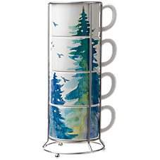 White River Watercolor Trees and Birds Ceramic Stacking Mug Set with Wire Rack