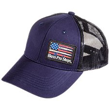Bass Pro Shops USA Flag Patch Mesh Back Cap 96994ad126a