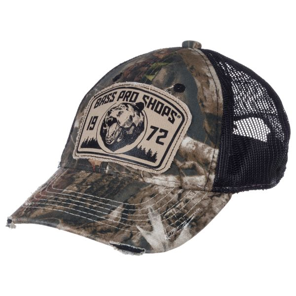 Bass Pro Shops 1972 Bear Patch Cap for Youth - TrueTimber Kanati/Black thumbnail