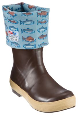 Xtratuf Salmon Sisters Legacy Rubber Boots for Ladies - Chocolate/Salmon Print - 9M