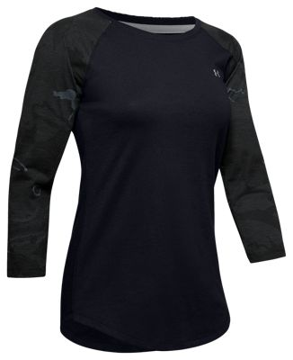 Under Armour Camo-Sleeve Utility Shirt for Ladies – Black/UA Blackout Camo/Steel – L