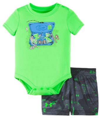 Under Armour Tackle Box Bodysuit and Shorts Set for Babies – Zap Green – 0-3 Months