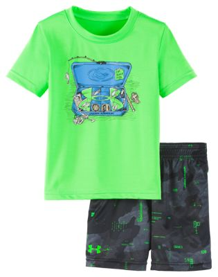 Under Armour Tackle Box Shirt and Shorts Set for Babies – Zap Green – 18 Months