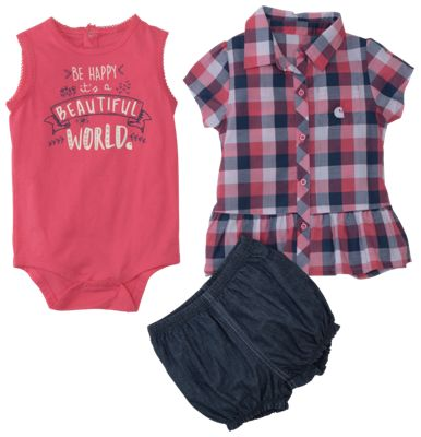 Carhartt Beautiful World Bodysuit, Plaid Shirt, and Shorts 3 Piece Clothing Set for Babies Chambray 3 Months
