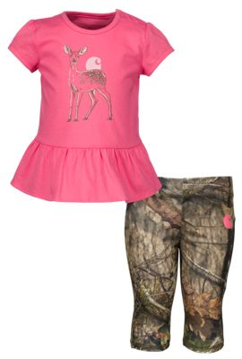 Carhartt Deer Silhouette Top and Camo Capri Set for Babies Mossy Oak Break Up 24 Months