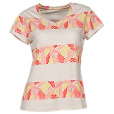 Natural Reflections Stripe Palm V-Neck Tee Shirt for Ladies