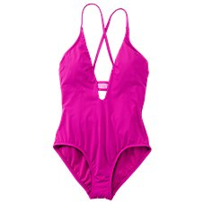 Cole of California Mesh Cross-Back Plunge Maillot One-Piece Swimsuit for Ladies