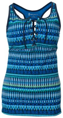 Free Country Summer Bliss Lace-Up Racerback Tankini for Ladies - Azure/Slate - S
