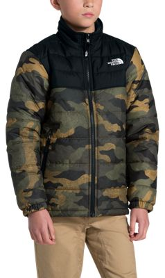 The North Face Mount Chimborazo Reversible Jacket for Boys – British Khaki Waxed Camo – L