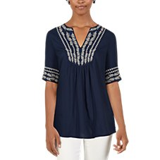 Bob Timberlake Embroidered Elbow Sleeve Blouse for Ladies
