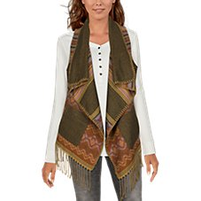 Natural Reflections Aztec Fringe Vest for Ladies