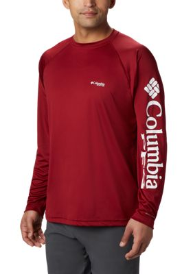 Columbia Pfg Terminal Tackle Long Sleeve T Shirt For Men Beet/white Logo M
