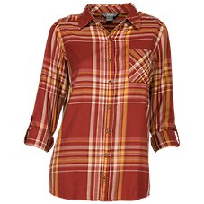 Natural Reflections Plaid Button-Down Long-Sleeve Shirt for Ladies