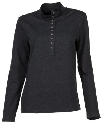 Natural Reflections 10-Button Mock Turtleneck for Ladies - Anthracite - 2X