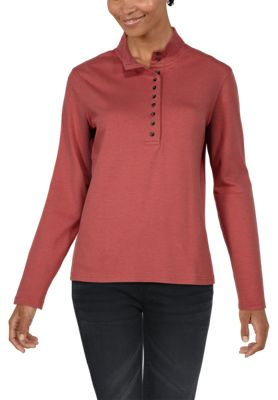 Natural Reflections 10-Button Mock Turtleneck for Ladies - Dusty Cedar - XL