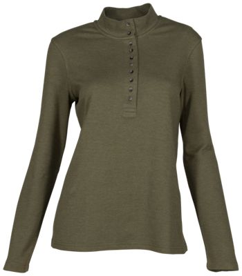Natural Reflections 10-Button Mock Turtleneck for Ladies - Olive Night - XL
