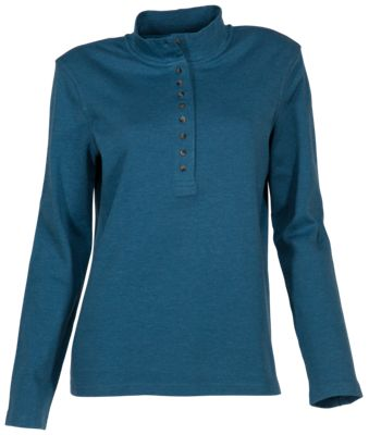 Natural Reflections 10-Button Mock Turtleneck for Ladies - Real Teal - XL