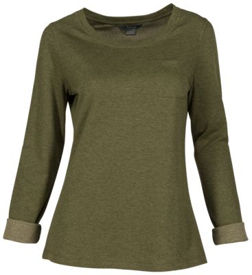 Natural Reflections Double Cloth Long-Sleeve Shirt for Ladies - Olive Heather - 2X