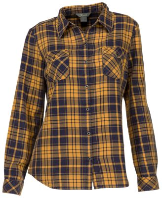 Natural Reflections Acid-Washed Plaid Long-Sleeve Shirt for Ladies - Spruce Yellow - L