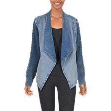 Natural Reflections Open-Front Acid-Washed Cable Long-Sleeve Cardigan for Ladies