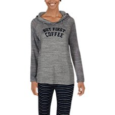 Natural Reflections But First Coffee Long-Sleeve Hoodie for Ladies
