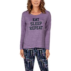 Natural Reflections Eat Sleep Repeat Long-Sleeve Crew Shirt for Ladies