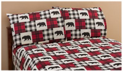 White River Bear Plaid Flannel Sheet Set | Bass Pro Shops