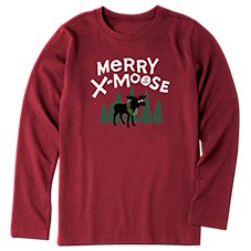Life is Good Merry X-Moose Long Sleeve Crusher T-Shirt for Kids Image