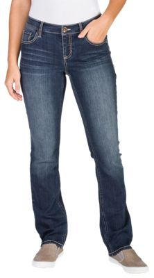 Natural Reflections Corded Pocket Straight Leg Jeans for Ladies - Dark Wash - 4