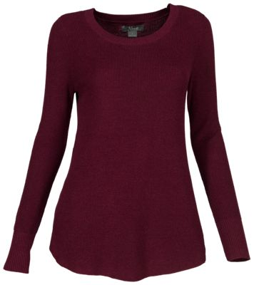 Natural Reflections Long-Sleeve Rib-Knit Leggings Sweater for Ladies - Burgundy - M