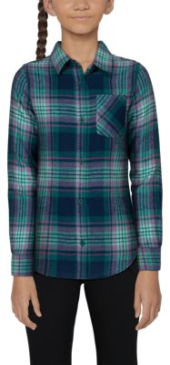 .Bass Pro Shops Long-Sleeve Flannel Shirt for Toddlers or Girls - Black Iris Plaid - XL