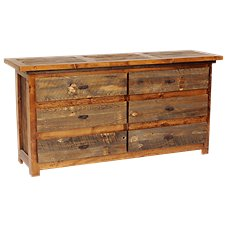 Mountain Woods Furniture Wyoming Collection Rustic Wood Six-Drawer Dresser