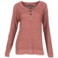 Natural Reflections Lace-Up Long-Sleeve Sweater for Ladies Image