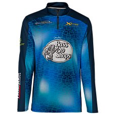 Bass Pro Shops Quarter-Zip Water Print Fishing Jersey Long-Sleeve Pullover for Men Image