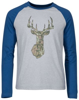 Bass Pro Shops Camo Geometric Deer Raglan Long-Sleeve T-Shirt for Kids – Heather Gray – 4-5