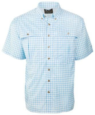 Drake Waterfowl FeatherLite Plaid Wingshooter's Short-Sleeve Button-Down Shirt for Men – Marina Blue Plaid – S