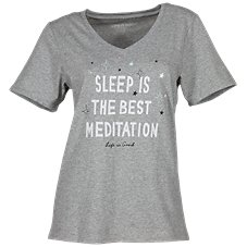 Life is Good Meditation Snuggle Up Short-Sleeve Sleep Tee for Ladies
