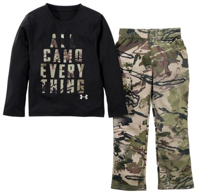 Under Armour All Camo Everything Long-Sleeve T-Shirt and Pants for Babies, Toddlers, and Kids – Black/RR Camo Barren – 2T
