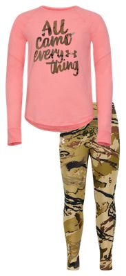 Under Armour All Camo Everything Long-Sleeve T-Shirt and Pants for Girls – Pop Pink/UA Barren Camo – 4