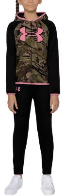 Under Armour Big Icon Hooded Shirt and Pants Set for Babies, Toddlers, or Kids – Black/UA Barren Camo – 2T