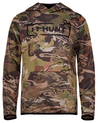 Under Armour Camo Hunt Logo Long-Sleeve Hoodie for Kids – UA Forest Camo – L