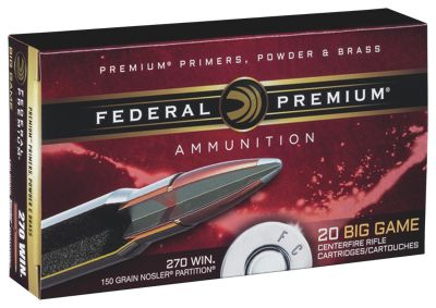 Federal Premium Vital-Shok Nosler Partition Centerfire Rifle Cartridges - .300 Winchester Magnum - 180 Grain