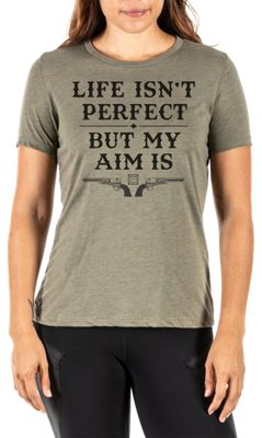 511 Tactical Life Isnt Perfect But My Aim Is Short Sleeve T Shirt for Ladies Military Green Heather S