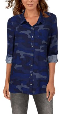 Natural Reflections Camo Boyfriend Long-Sleeve Shirt for Ladies – Blue Camo – S